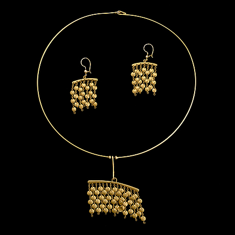 Tapio wirkkala, necklace and earrings, 14k gold. westerback, helsinki finland 1968.