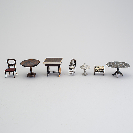 A lot of doll house furniture and accessories by various makers including rock & graner germany 19/20th century.