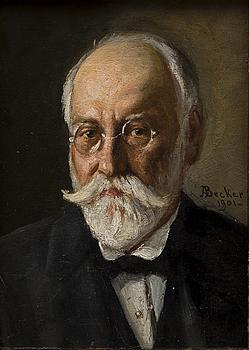 ADOLF VON BECKER, olja på pannå, signerad och daterad 1901.