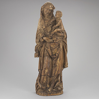A CARVED WOODEN SCULPTURE, possibly 15th century.