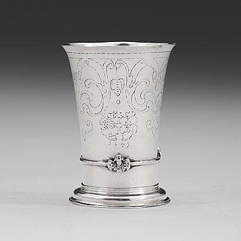 84. A Nowegian mid 17th century silver beaker, unidentified makers mark MC, possibly (Trondheim).