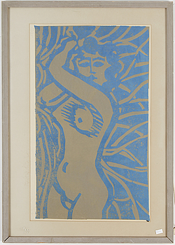 AXEL SALTO, linoleum print, signed and numbered 22/25.