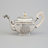 A russian 19th century parcel-gilt tea-pot, mark of jacob wiberg possibly, moscow 1832.