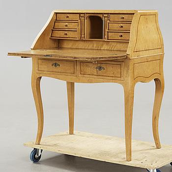 ROKOKO, A birchwood rococo-style secretaire early 20th century.