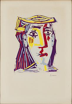 """PABLO PICASSO, """"FEMME AU CHAPEAU"""", 1962."""