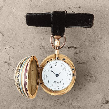 111. FRES. BORDIER, oval shaped pocket watch, 25 x 28 (43) mm,
