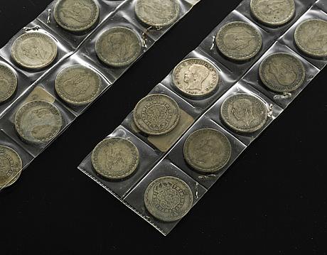Silvermynt, 23 st, 1 kronor, sverige, 1940-tal och 1950 . vikt ca 170 gram.