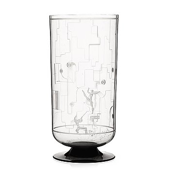 7. Simon Gate, A Simon Gate engraved glass vase, Orrefors, Sweden 1931.