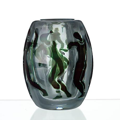 A vicke lindstrand 'graal' glass vase, orrefors, sweden 1937.