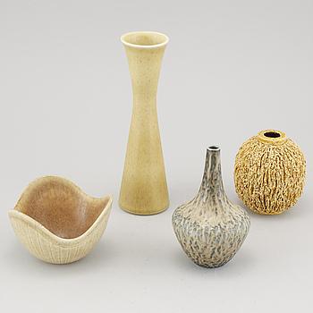 GUNNAR NYLUND, vaser, 3 st, samt skål, stengods, Rörstrand, 1900-talets tredje kvartal.