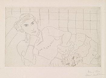 """41. Henri Matisse, """"Jeune femme et son chien""""."""