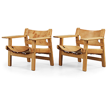 A pair of Børge Mogensen oak and leather 'Spanish Chair', Fredericia Møbelfabrik, Denmark.
