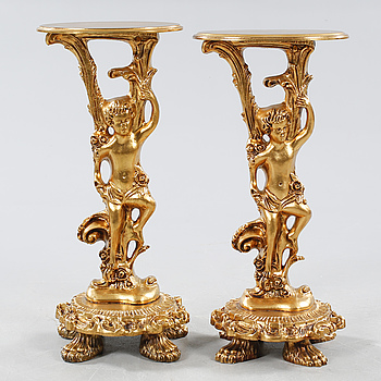 A pair of bronzed piedestals, second half of the 20th century.
