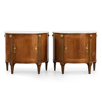 12. A pair of late Gustavian cupboards attributed to Gottlieb Iwersson (master in Stockholm 1778-1813), circa 1790.