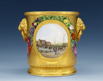 A bottle cooler from the wedding service of Princess Luise of Preussia and Prince Frederik of Holland. Central scenes from ´Die Freidrichs Brücke in Berlin´and ´...
