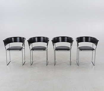 """FOUR ARM CHAIRS, """"Fuga"""", Design Lasse Pettersson & Lennart Notman for Swedese, late 20th century."""