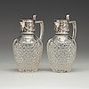 A pair of fabergé jugs, glass and silver, moscow 1899-1908, scratched inventori number 20116.