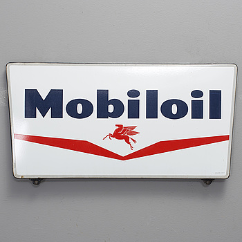 An enamelled signboard for Mobiloil, second half of the 20th century.