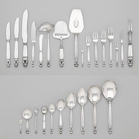 Johan rohde, a 108 pcs set of 'acorn' sterling and stainless steel flatware by georg jensen, copenhagen 1945-77.