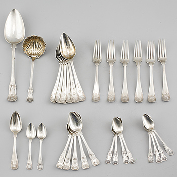 30 pieces of silver cutlery from Sweden, 19th century, weight 1430 g.