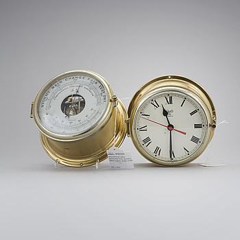 A brometer and clock in brass, Schatz, late 20th century.