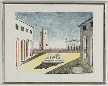 GIORGIO DE CHIRICO, färglitografi, signerad G. de Chirico och numrerad 2/99 med blyerts. Utförd 1969.