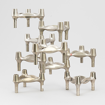 9 metal candlesticks by Ceasar Stoffi & Fritz Nagel, Germany, second half of the 20th Century.