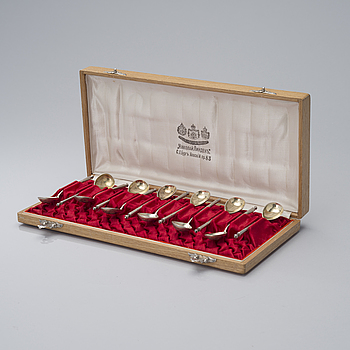 TWELVE SILVER TEASPOONS, Moscow, Russia 1908-1917. Weight 145 g.