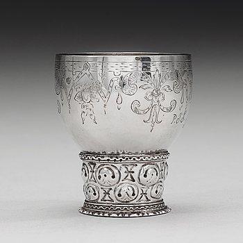 85. A Norwegian 17th century silver roemer, mark of  Jochum Hansen Fendt (Skien c 1682 - 1711).