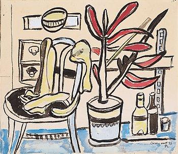 20. Fernand Léger, Une chaise, un pot de fleurs, deux bouteilles.