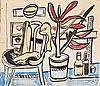 Fernand léger, une chaise, un pot de fleurs, deux bouteilles.