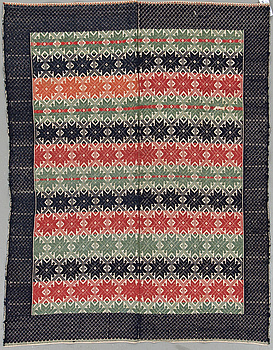 Bed cover in weft-patterned tabby type, Scania, Sweden, first half of the 10th century, around 170 x 133 cm.
