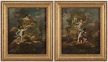 UNKNOWN ARTIST FIRST HALF OF THE 19TH CENTURY, oil on panel, a pair, unsigned.