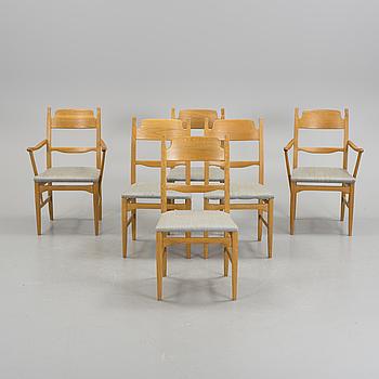 CARL MALMSTEN, Six CARL MALMSTEN oak chairs, 'Calmare Nyckel' from Åfors möbelfabrik.