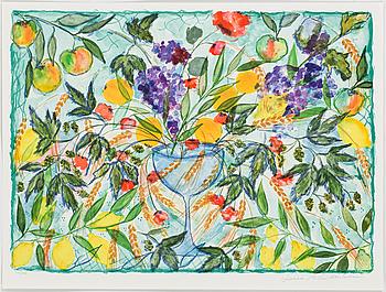 """LENA LINDERHOLM, färglitografier, 3 st i mapp """"Livets Fröjder"""", signerade och numrerade 191/1750."""