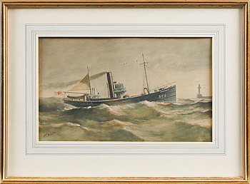 JAMES C BOURNE, JAMES C BOURNE, attributed to, two mixed media, signed.
