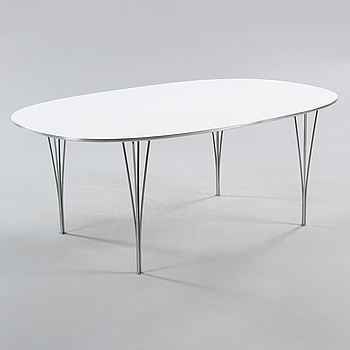 """A table, model """"Superelips"""", designed by Bruno Mathsson and Piet Hein for Fritz Hansen, made 1982."""