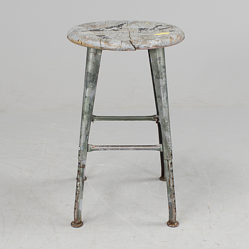 a mid 20h Century metal and wood stool.