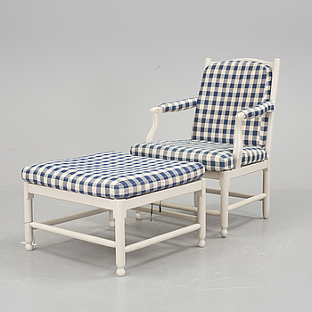 """a Swedish armchair and stool """"Medevi brunn"""", by IKEA, 1990s."""