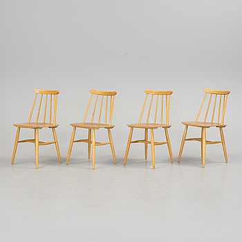 """ILMARI TAPIOVAARA, A set of four """"Fanett"""" chairs by Ilmari Tapiovaara, Edsbyverken, second half of the 20th century."""