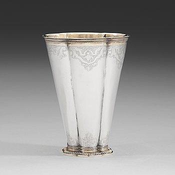 91. A Swedish 18th century parcel-gilt beaker, mark of Friedrich Heinrich Klinck, Stockholm 1734.