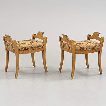 A pair of benches, mid 19th century.