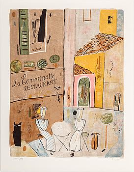"""MADELEINE PYK, färglitografier, 3 st i mapp""""Bilder från Provence"""", signerade och numrerade 3497/5000."""