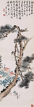 "432. RULLMÅLNING, Qi Baishi (1864-1957) och Chen Nian (1877-1970), ""Pine and Cicada"", signerad."