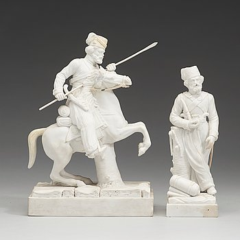 145. Two Russian biscuit figures, circa 1900.