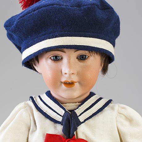 A bisque head boy doll 238 by s.f.b.j, paris, france, 1910s
