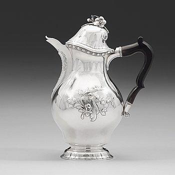100. Johan Schvart, kaffekanna, silver, Karlskrona 1780, rokoko.