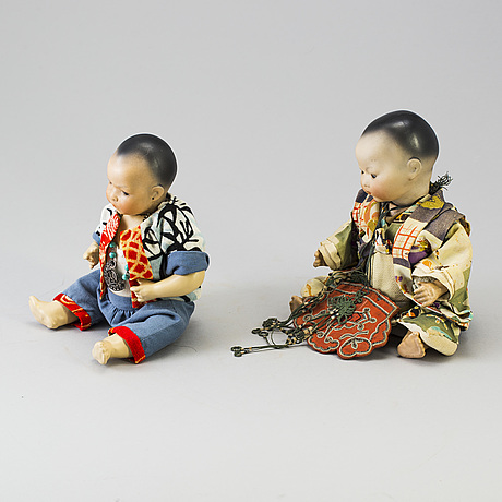 Two oriental bisque head baby dolls by armand marseille and heubach köppelsdorf, germany, early 20th century