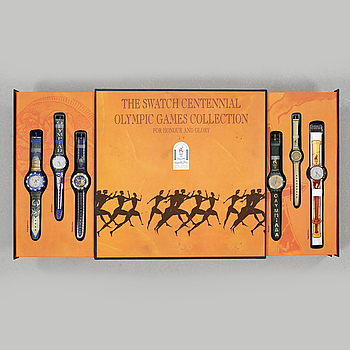 SWATCH, Olympic Special, Honour and Glory, set med 9 st. armbandsur.