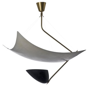 808. An Angelo Lelli brass and lacquered metal hanging lamp, for Arredoluce, Italy 1950´s.